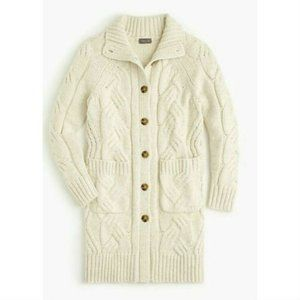 J Crew Point Sur Cable Long Cardigan Sweater S